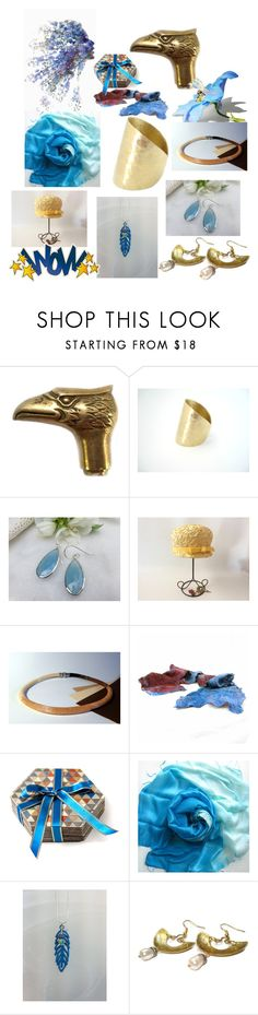"""Gold and Blue"" by anna-recycle ❤ liked on Polyvore featuring modern, rustic and vintage"
