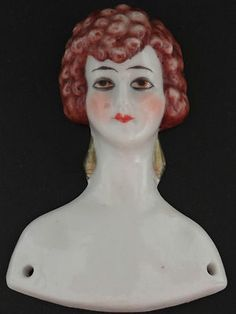 German Art Deco Lady Woman Half Doll Antique RARE Biscuit Porcelain Face | eBay