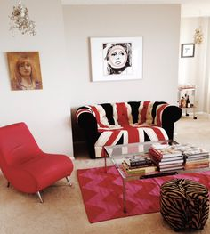 Living room redux with Union Jack and rug from Pattern Society.