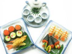 Dollhouse Miniature Food Japanese Sushi Tea Set by WonderMiniature