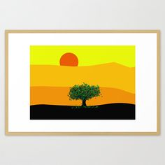 Decorative and colourful yellow countryside landscape large art print illustration in a quality glicée, perfect as home decor or as a beautiful gift. Colourful tree in a Glicee art print.  Gallery quality Giclée print on natural white, matte, ultra smooth, 100% cotton rag, acid and lignin free archival paper using Epson K3 archival inks. Custom trimmed with 1 border for framing, 17x 22, 21 x 28 and 28x38 have 2.  These are the sizes available: 8 x 10 (printed area: 6 x 8): 13 x 18 (printed…