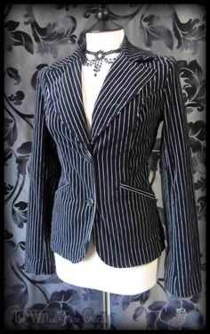Gorgeous Gothic Black White Pinstripe Velvet Riding Jacket 12 Victorian Goth | THE WILTED ROSE GARDEN