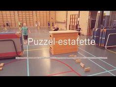Puzzel-estafette, nadenken en bewegen in de gymles
