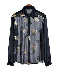 Semi-sheer Chiffon Shirt with Golden Butterfly Print