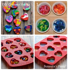 Una idea para regalar a los niños son creyones en forma de corazn!...el paso a paso en www.facebook.com/SusanitasParty  #ideas #partyfavors #cotillon #fiestainfantil #crayons #creyonesdecera #craft #manualidades #diy #susanitasparty #talentovenezolano