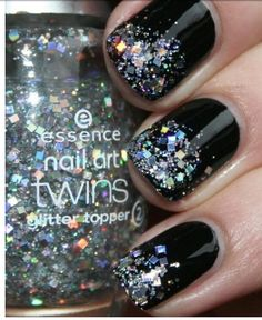 Glitter over black nail polish, these nails are fantastic! #manicure