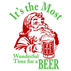 Santa Claus Wonderful Time for A Beer Christmas Cuttable Design
