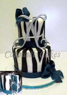 Beautiful Cake- Talented cake designer -zebra mini cake, inside matched the teal accents, teal red velvet