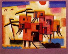 Xul Solar - Cinco casas Famous Artwork, Wassily Kandinsky, Surrealism, Illustration, Abstract Art, Sculptures, Creatures, Colours, Florida