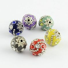 RoundAntique Silver Handmade Indonesia Beads for jewelry making with Alloy Cores, Mixed Color, Hole: Jewelry Making Beads, Beaded Jewelry, Shops, Cheap Beads, Handmade Silver, Color Mixing, Antique Silver, Jewelry Accessories, Stud Earrings