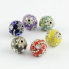 3 Großlochperlen 9mm topas Perlen mit Silberfolie Glasbeads 206