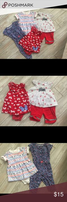Baby Girl Dress Romper Short Set Lot Sz. 6 months Romper and (Aztec Dress never worn) are Carter's, Red Dress is Child of Mine, and 2 pc set is Vitamins Baby. All are in really good condition without stains. Ruffles and bows just need to be flattened. Carter's Matching Sets