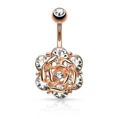 Rose Gold Flower with 6 Gems Belly Ring