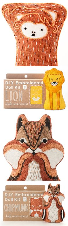 Hand embroidery kits by Kiriki Press // animal embroidery // doll kit