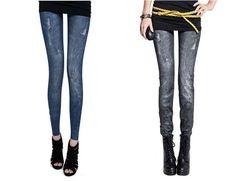 2016 Winter Jean Leggings Demin Spandex With Pockets Slim Leggings Jeans para mulheres jeans Pencil Trousers Legins Women Girls
