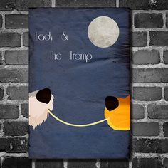 Lady and the Tramp movie poster Disney minimalist poster geekery art nursery print