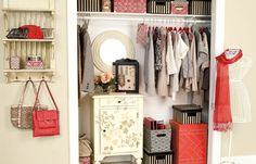 An elegant but playful closet. Do you love this  look?    Find out what type of home decor style you have by taking our Stylescope quiz. Click here!