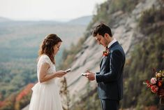 Bride and groom say vows during their ceremony during elopement in the White Mountains in New Hampshire. New Hampshire elopement packages. Echo Lake, White Mountains, Outdoor Weddings, Beautiful Morning, Elopement Inspiration, Elopements, Best Day Ever, Traditional Wedding, New Hampshire