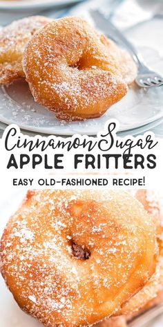Old Fashioned Cinnamon Sugar Apple Fritters Are you looking for the BEST Apple Fritter recipe? You should give this easy homemade version a try. The apple rings are fried and then dipped into cinnamon sugar – fall perfection! I love old fashioned desserts Apple Fritter Recipes, Apple Dessert Recipes, Cinnamon Recipes, Donut Recipes, Apple Recipes, Fall Recipes, Just Desserts, Sweet Recipes, Cooking Recipes