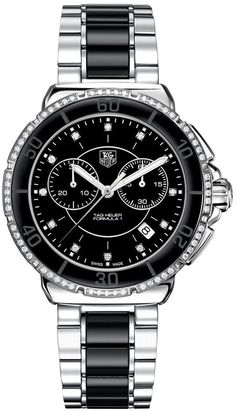 TAG Heuer Women's Chronograph Diamond (1/2 ct. t.w.) Black Ceramic and Stainless Steel Bracelet Watch 41mm CH1212.BA0862 - $3,000.00