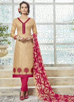 cream-khadi-silk-party-wear-embroidered-work-churidar-suit