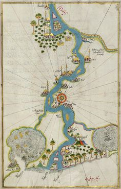 This is a map of the Nile River from its estuary south to Cairo. Created in 1525, this map has held up very well through the years. It has been entered into a book called MAP: A WONDERFUL COLLECTION OF THE WORLDS GREATEST MAPS, which includes maps of almost every country around the world from many different perspectives.