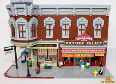 Lego MOC drugstore and theatre. Awesome detailed sidewalk and newsstand
