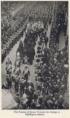 Queen Victoria's funeral procession passes Paddington rail station