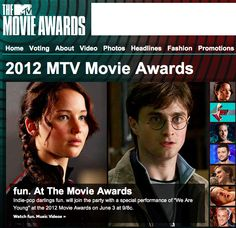 The Hunger Games is up for EIGHT MTV Movie Awards! Click to vote daily! :) (for the record, I voted for Ron and Hermione as Best Kiss, because they deserve it. Katniss and Peeta will hopefully have a better one in Catching Fire!) please repin!