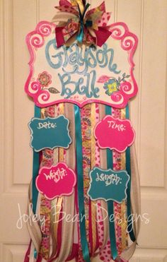 Baby girl hospital door hanger