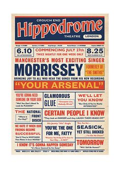 Morrissey 'Your Arsenal' Playbill Poster Print Music Hall Vaudeville Theatre Literary Print on Etsy, $25.64