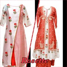 Block printed  Chanderi kurtas with intricate hand embroidery with red gota pallazo .