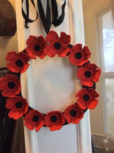 Egg carton poppy wreath., also see under wreaths                                                                                                                                                                                 More