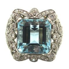 Exquisite French Edwardian Era Aquamarine Old Cut Diamond Platinum Ring