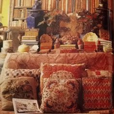 detail of a collection of pillows in the home of the late Stephen Long/World of Interiors c. 1980s.