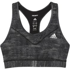 Adidas Techfit Heather Print Sports Bra, Black (€26) ❤ liked on Polyvore featuring activewear, sports bras, racer back sports bra, adidas activewear, adidas sportswear, yoga activewear and adidas