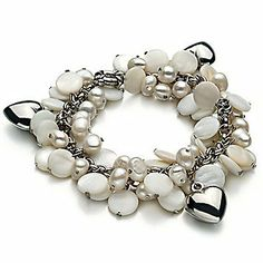 PearlsOnly Harmony - Pearl with Heart Charms White 5.0-5.5mm A Freshwater Cultured Pearl Bracelet PearlsOnly. $49.00