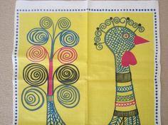 Vintage Swedish Towel MOD Birds by NeatoKeen on Etsy