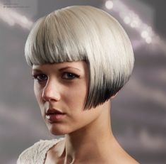 Short bob, cut in a shallow angled A-line and with straight bangs. Two tone hair coloring. Crop Haircut, Bob Haircut With Bangs, Bob Hairstyles With Bangs, Short Bob Haircuts, Unique Hairstyles, Blonde Hairstyles, Perfect Blonde Hair, Blonde Hair Inspiration, Going Blonde