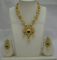 Pacchi work necklace with south sea pearls and emarald