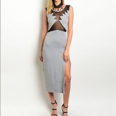 LAST ONE! High Slit Dress Sleeveless jersey knit dress featuring a sexy mesh insert on bodice. Also has thigh high side slit. ONLY 1 LEFT Boutique Dresses