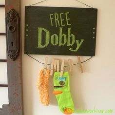 """Free Silhouette cut file for a Harry Potter """"Free Dobby"""" odd sock collector ~ Whatchaworkinon.com"""
