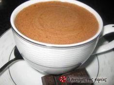 Πως να φτιαξετε ζεστη σοκολατα με κανονική σοκολάτα, οχι στιγμιαίες σκονες κλπ, με την αφρωδη υφή της καφετεριας! Greek Desserts, Greek Recipes, Chocolate Sweets, Chocolate Coffee, Yummy Drinks, Food Processor Recipes, Bakery, Brunch, Food And Drink