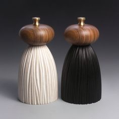 Black and White Mills short salt  pepper mills with walnut tops  Made by lokimonkey
