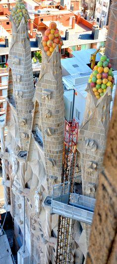 colourful towers on the sagrada familia barcelona