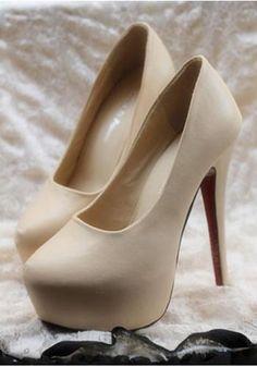 Womens high heels-platforms. Nude color, every girll needs a pair of these! #HighHeels #HighHeelShoes #2InchHeels #3InchHeels
