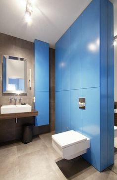 déco de mur de toilettes : couleur bleue