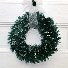 15 Inch Goose Coquille Feather Wreath - Hunter Green/Opal Lurex