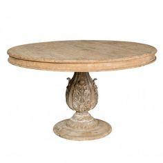 mesa redonda con pie tallado central