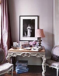 Inspiration for desk/dresser and curtains, lavendar walls, black frame